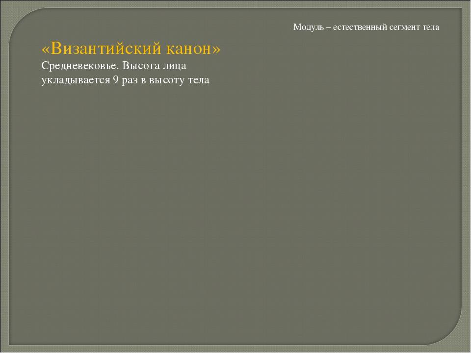 Модуль – естественный сегмент тела «Византийский канон» Средневековье. Высота...