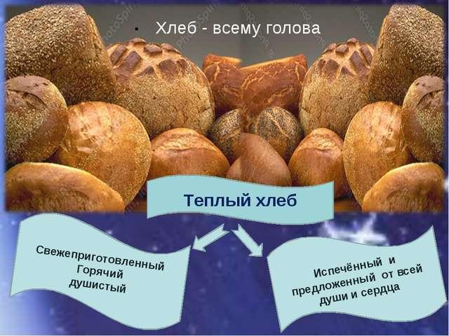 . Теплый хлеб Хлеб - всему голова Испечённый и предложенный от всей души и се...