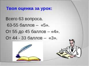 Твоя оценка за урок: Всего 63 вопроса. 63-55 баллов – «5». От 55 до 45 балло