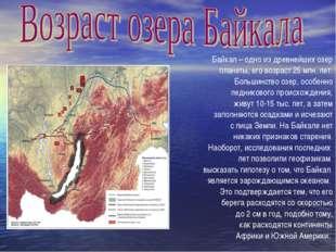 Байкал – одно из древнейших озер планеты, его возраст 25 млн. лет. Большинств