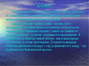 Климат Площадь невелика, но значительная глубина Байкала, и , следовательно