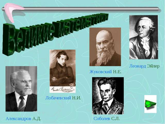 Александров А.Д. Лобачевский Н.И. Жуковский Н.Е. Леонард Эйлер Соболев С.Л.