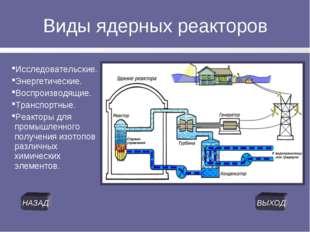 Виды ядерных реакторов Исследовательские. Энергетические. Воспроизводящие. Тр