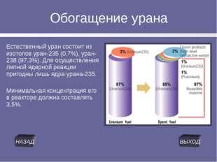 Обогащение урана Естественный уран состоит из изотопов уран-235 (0,7%), уран-