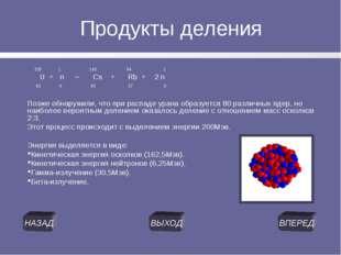 Продукты деления 235 1 140 94 1 U + n → Cs + Rb + 2 n 92 0 55 37 0 Позже обна