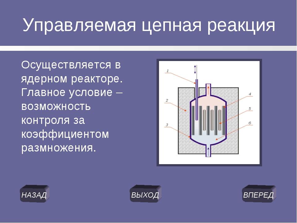 Управляемая цепная реакция Осуществляется в ядерном реакторе. Главное условие...