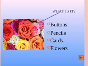 WHAT IS IT? Buttons Flowers Pencils Cards