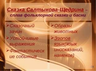 Сказка Салтыкова-Щедрина – сплав фольклорной сказки и басни Сказочный зачин У