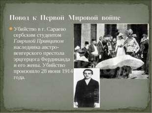Убийство в г. Сараево сербским студентом Гаврилой Принципом наследника австро