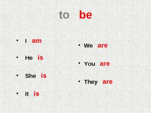 to be I am He is She is It is We are You are They are