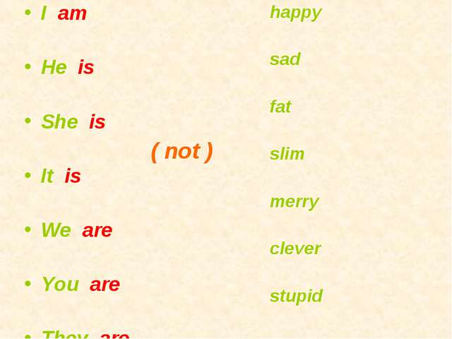 I am He is She is It is We are You are They are happy sad fat slim merry clev...