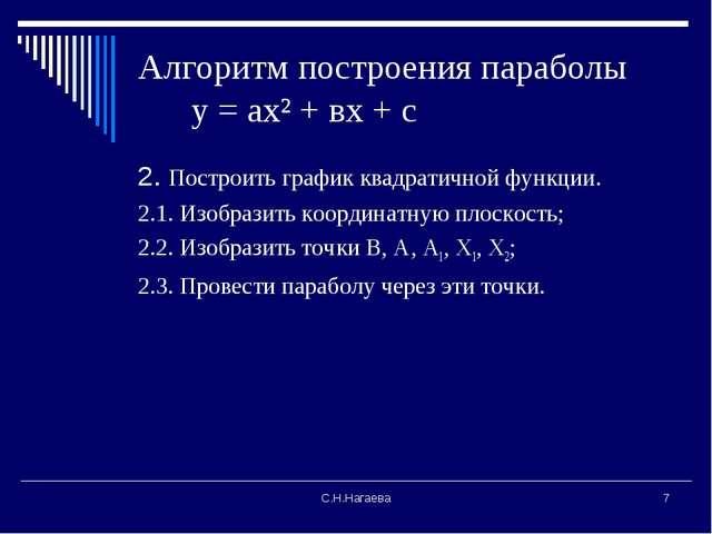 С.Н.Нагаева * Алгоритм построения параболы у = ах² + вх + с 2. Построить граф...
