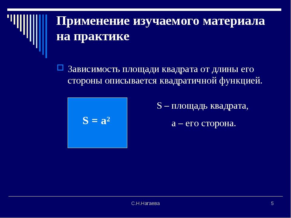 С.Н.Нагаева * Применение изучаемого материала на практике Зависимость площади...