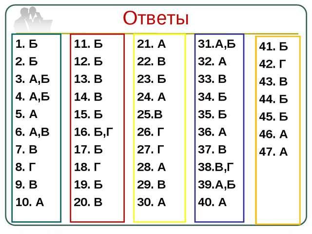 Ответы 1. Б 2. Б 3. А,Б 4. А,Б 5. А 6. А,В 7. В 8. Г 9. В 10. А 11. Б 12. Б 1...