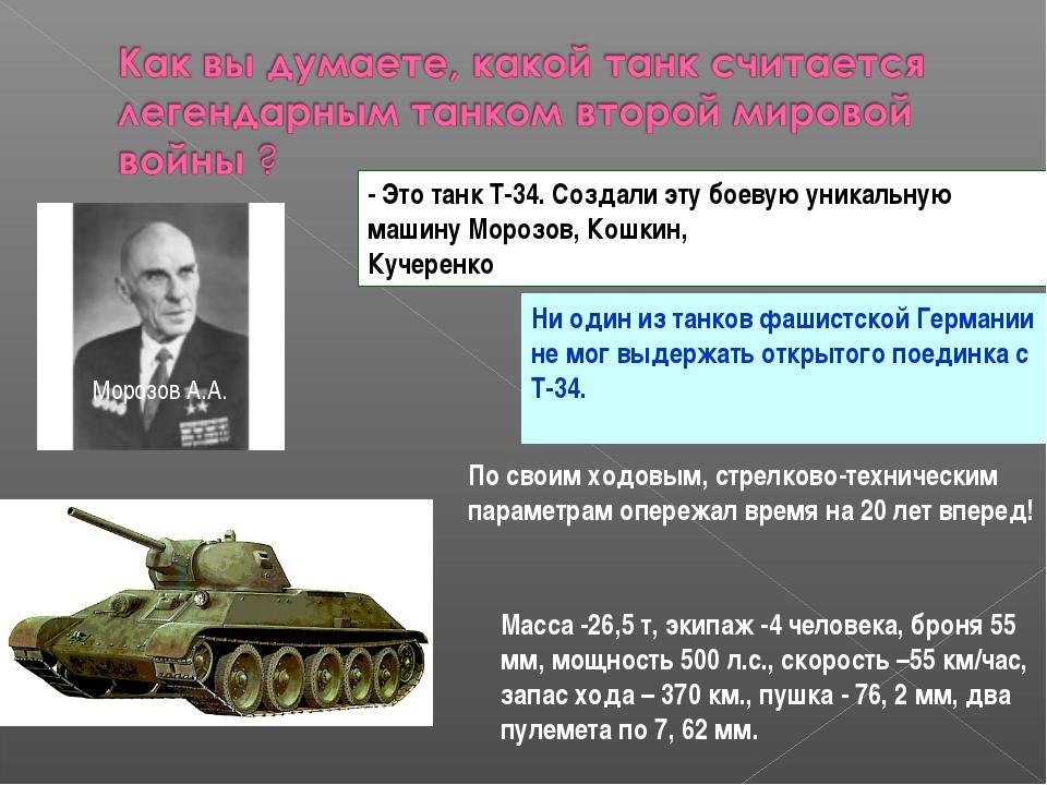 - Это танк Т-34. Создали эту боевую уникальную машину Морозов, Кошкин, Кучере...