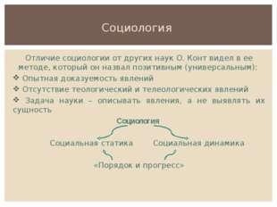 Социология Отличие социологии от других наук О. Конт видел в ее методе, котор