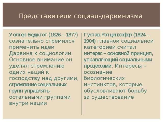 Представители социал-дарвинизма Уолтер Беджгот (1826 – 1877) сознательно стре...