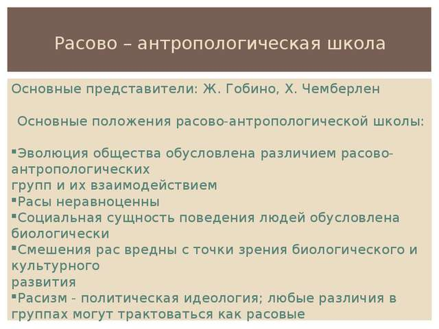 Расово – антропологическая школа Основные представители: Ж. Гобино, Х. Чембер...