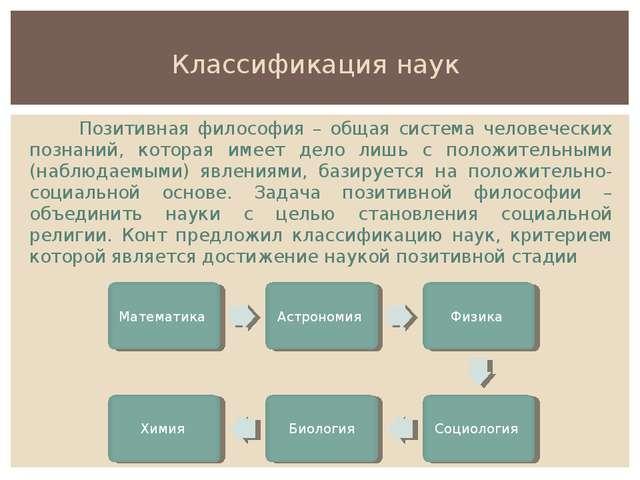 Классификация наук Позитивная философия – общая система человеческих познаний...