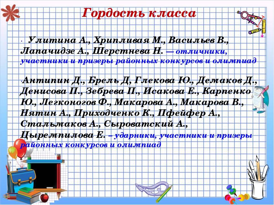 Гордость класса · Улитина А., Хрипливая М., Васильев В., Лапачидзе А., Шерст...
