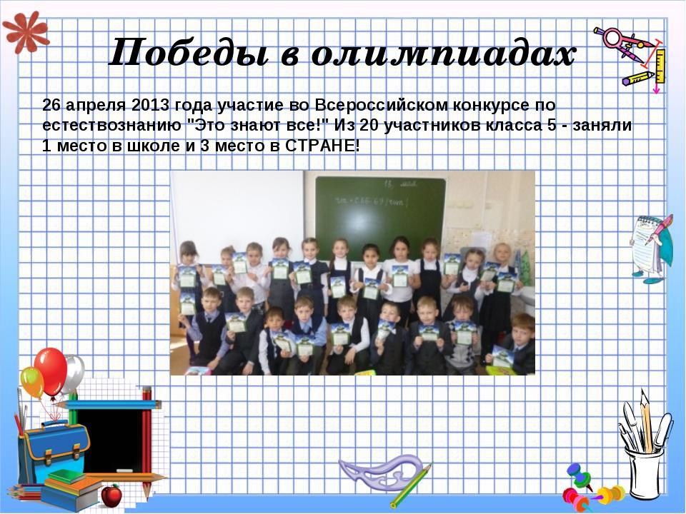 Победы в олимпиадах 26 апреля 2013 года участие во Всероссийском конкурсе по...