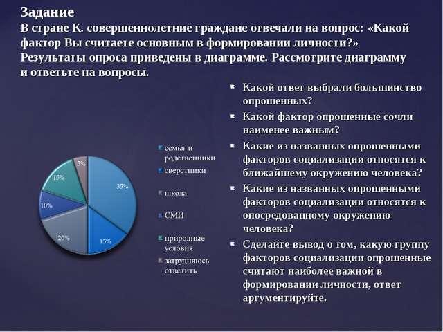 Задание В стране К. совершеннолетние граждане отвечали на вопрос: «Какой факт...