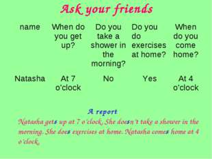 Ask your friends Natasha gets up at 7 o'clock. She doesn't take a shower in t