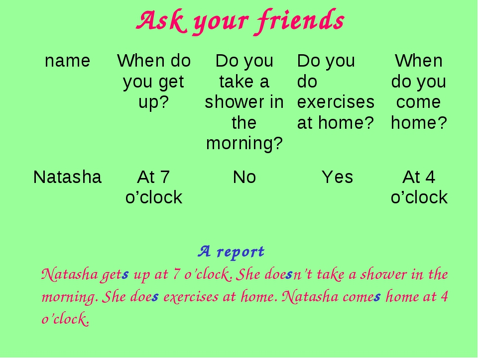 Ask your friends Natasha gets up at 7 o'clock. She doesn't take a shower in t...