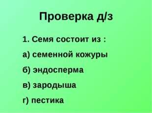Проверка д/з Семя состоит из : а) семенной кожуры б) эндосперма в) зародыша г