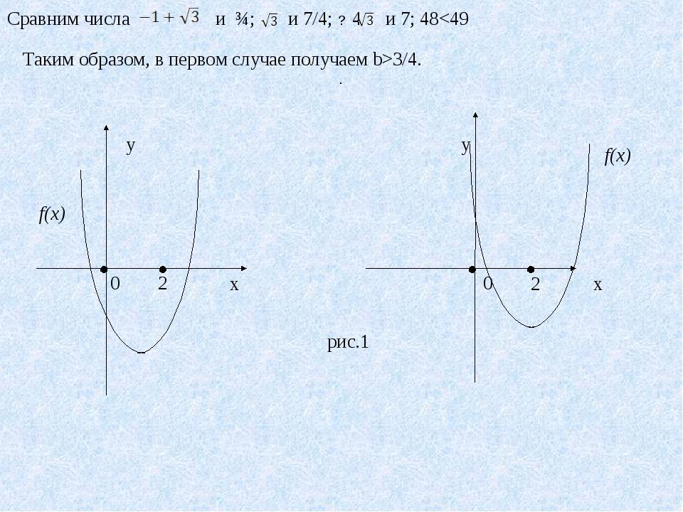 Сравним числа и ¾; и 7/4; 4 и 7; 483/4.