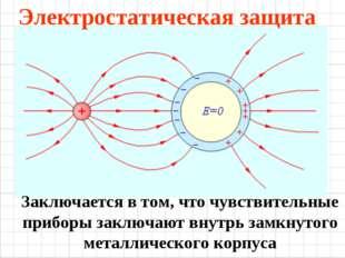 Электростатическая защита Заключается в том, что чувствительные приборы заклю