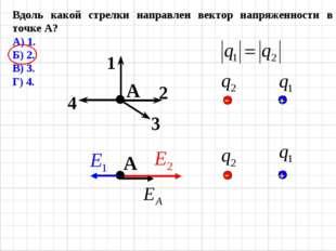 Вдоль какой стрелки направлен вектор напряженности в точке А? А) 1. Б) 2. В)
