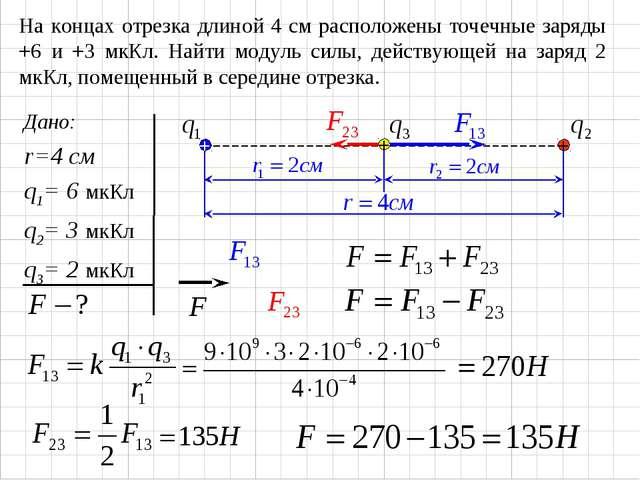 На концах отрезка длиной 4 см расположены точечные заряды +6 и +3 мкКл. Найти...
