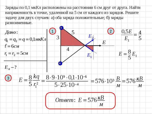 Заряды по 0,1 мкКл расположены на расстоянии 6 см друг от друга. Найти напряж...