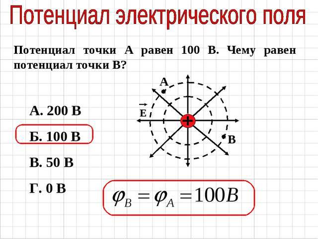 А. 200 В Б. 100 В В. 50 В Г. 0 В Потенциал точки А равен 100 В. Чему равен по...