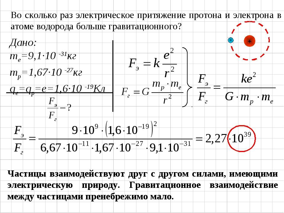 Во сколько раз электрическое притяжение протона и электрона в атоме водорода...
