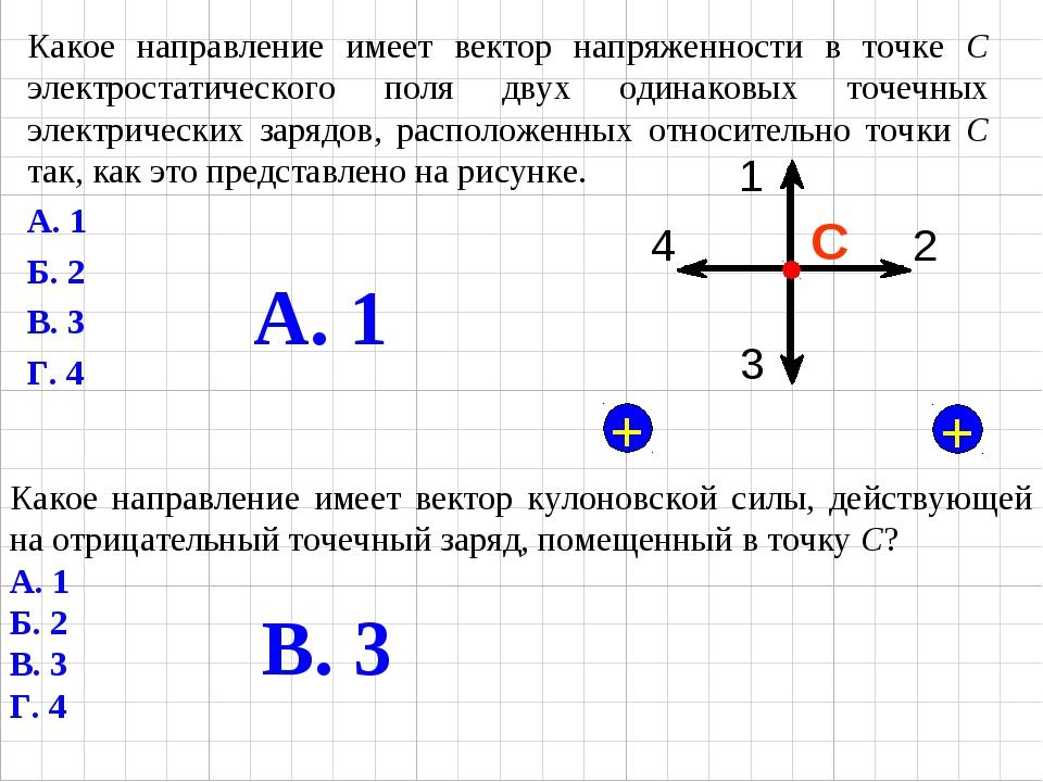 Какое направление имеет вектор напряженности в точке С электростатического по...