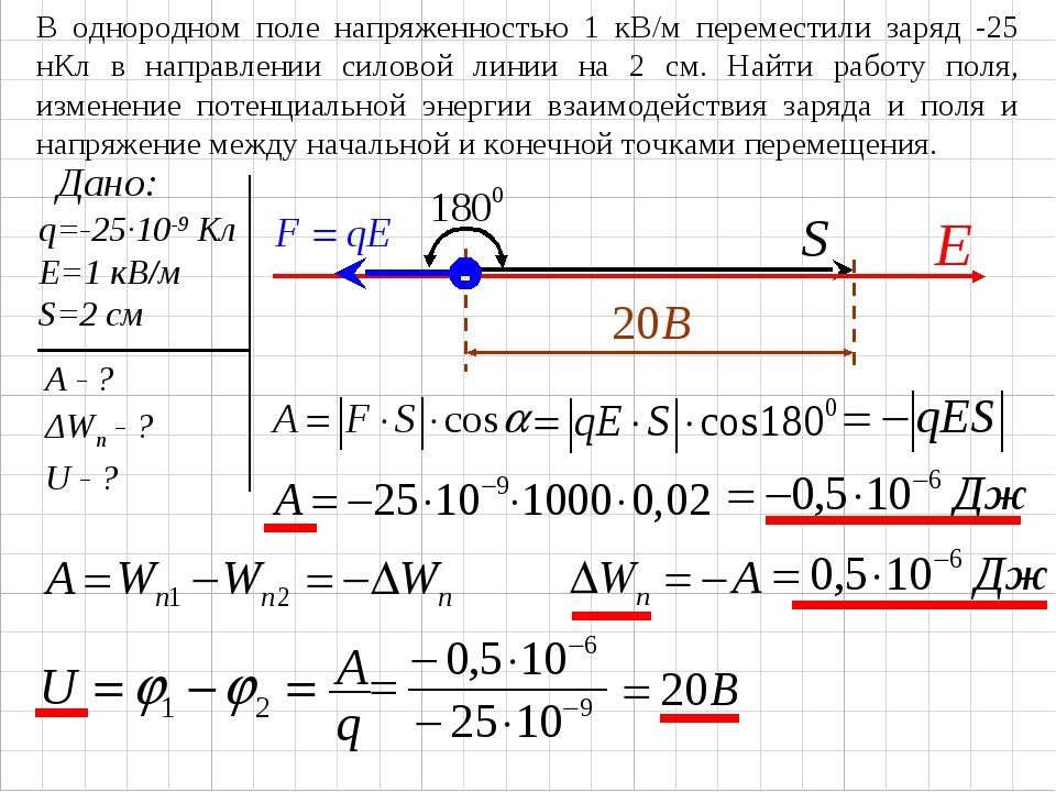 В однородном поле напряженностью 1 кВ/м переместили заряд -25 нКл в направлен...