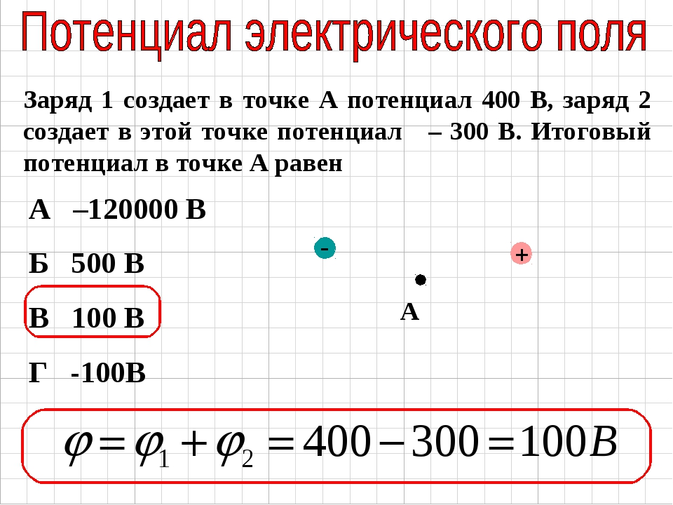 Заряд 1 создает в точке А потенциал 400 В, заряд 2 создает в этой точке потен...