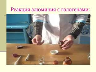 Реакция алюминия с галогенами: