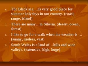 The Black sea …is very good place for summer holydays in our country. (coast,