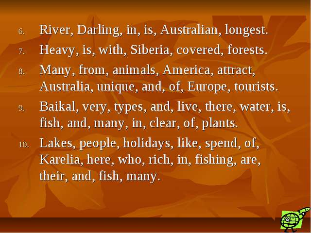 River, Darling, in, is, Australian, longest. Heavy, is, with, Siberia, covere...