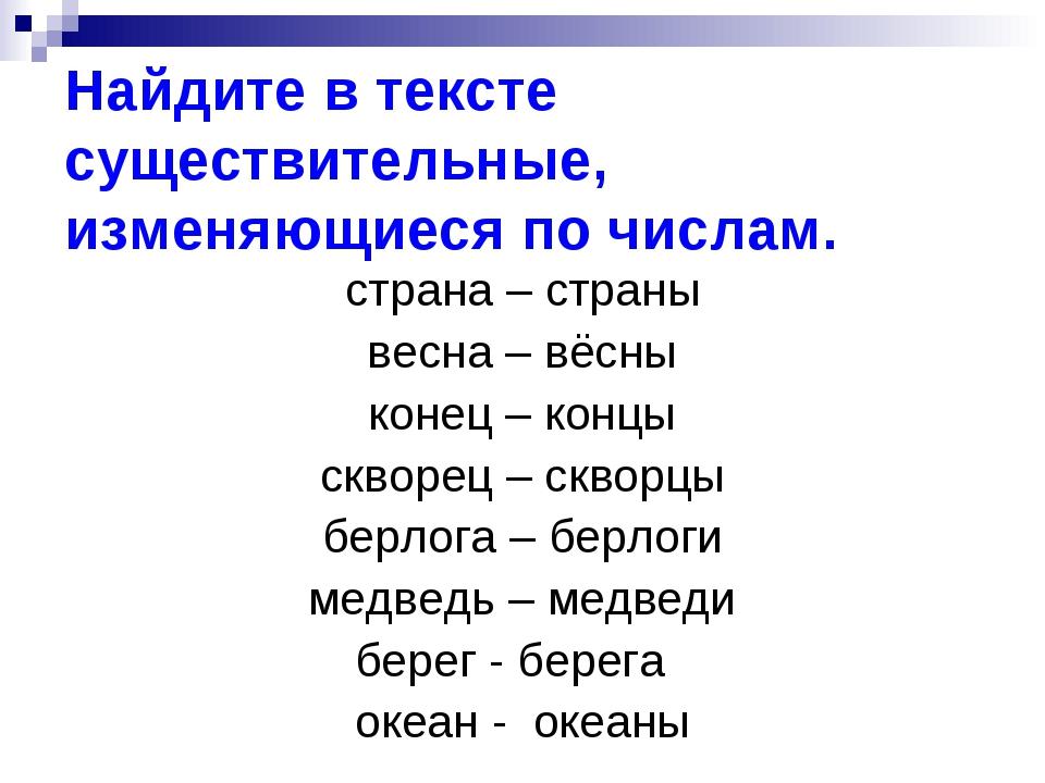 Найдите в тексте существительные, изменяющиеся по числам. страна – страны вес...