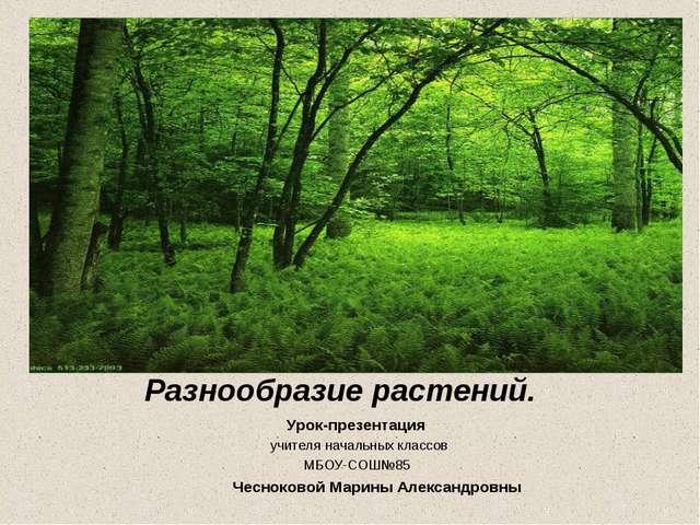 Разнообразие растений. Урок-презентация учителя начальных классов МБОУ-СОШ№85...