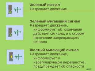 Зеленый сигнал Разрешает движение Зеленый мигающий сигнал Разрешает движение,