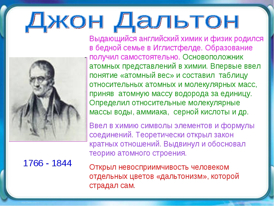 1766 - 1844 Выдающийся английский химик и физик родился в бедной семье в Игли...