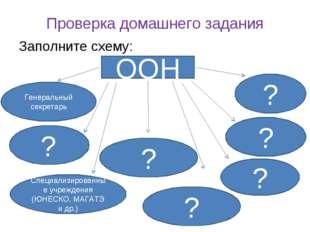 Проверка домашнего задания Заполните схему: ООН Генеральный секретарь ? ? ? ?