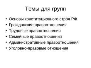 Темы для групп Основы конституционного строя РФ Гражданские правоотношения Тр