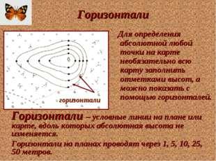 Горизонтали Для определения абсолютной любой точки на карте необязательно всю
