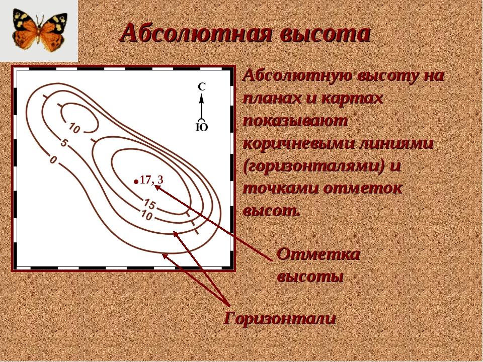 Абсолютная высота .17, 3 Абсолютную высоту на планах и картах показывают кори...